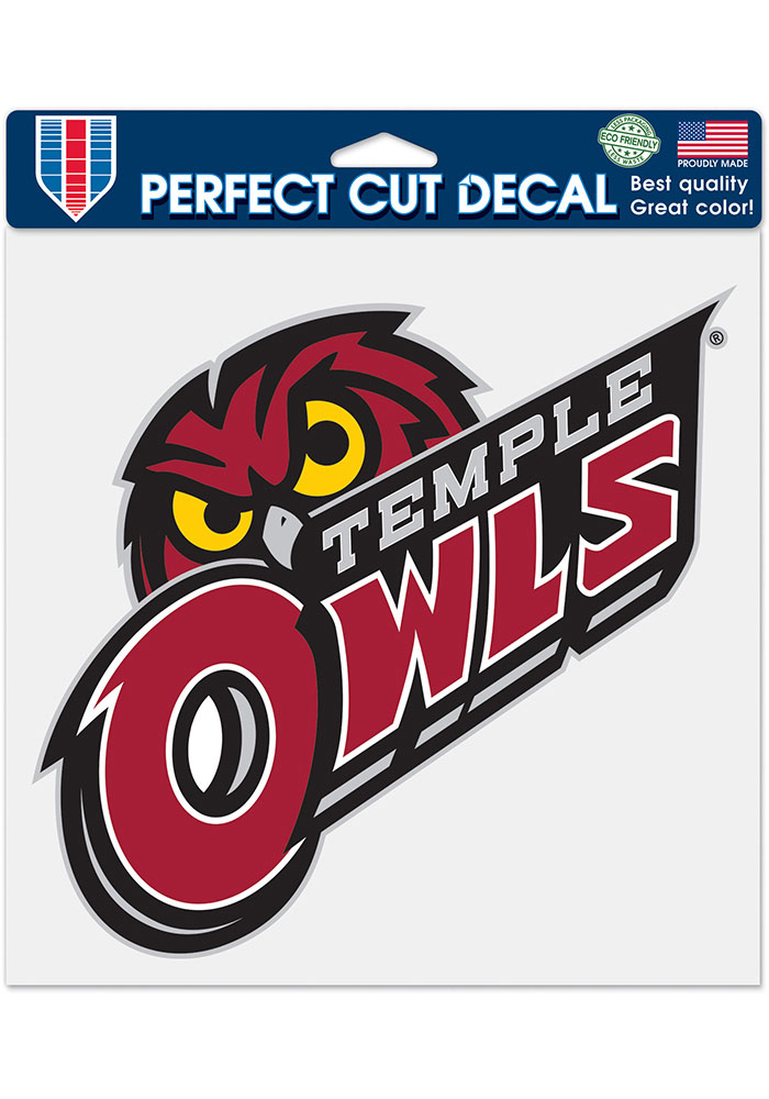 Temple Owls 8x8 Auto Decal - Red