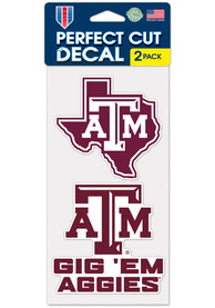 Texas A&M Aggies 4x4 2 Pack Auto Decal - Maroon