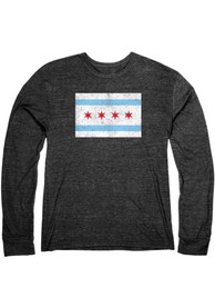 Chicago City Flag Heather Black Long Sleeve T-Shirt