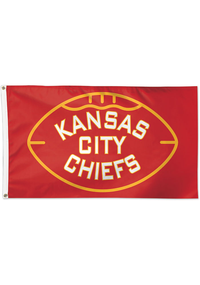 Kansas City Chiefs Football Deluxe 3x5 Red Silk Screen Grommet Flag - Image 1
