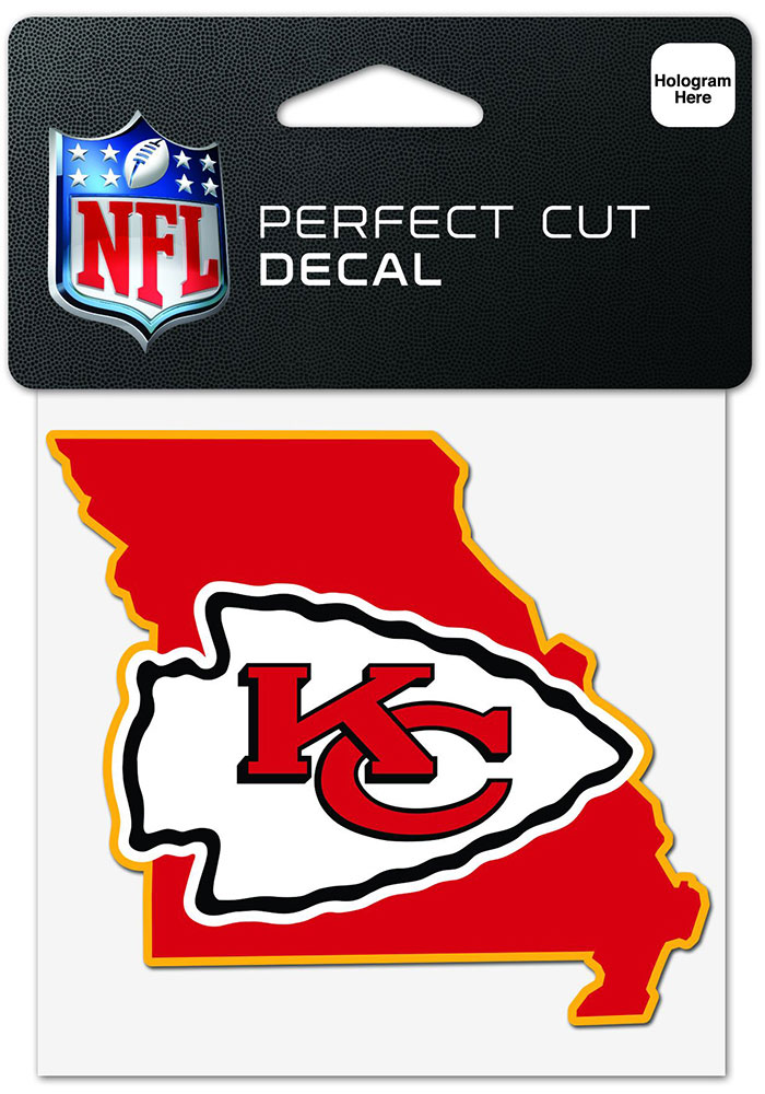 Kansas City Chiefs 4x4 State Shaped Auto Decal - Red - Image 1