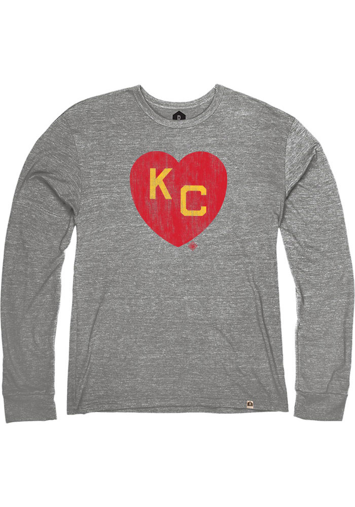 Rally Kansas City Monarchs Grey Heart Kansas City Long Sleeve Fashion T Shirt - Image 1