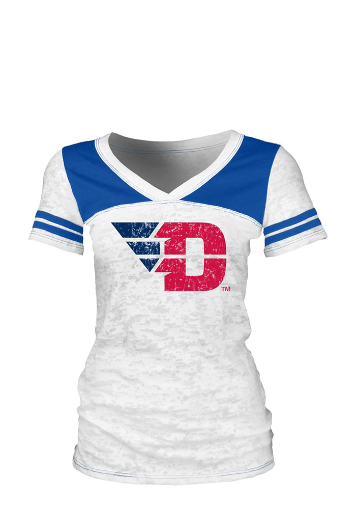 Dayton Flyers Juniors White Burnout V-Neck T-Shirt - Image 1