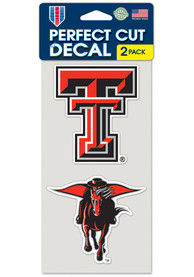Texas Tech Red Raiders 4x4 2 Pack Auto Decal - Red
