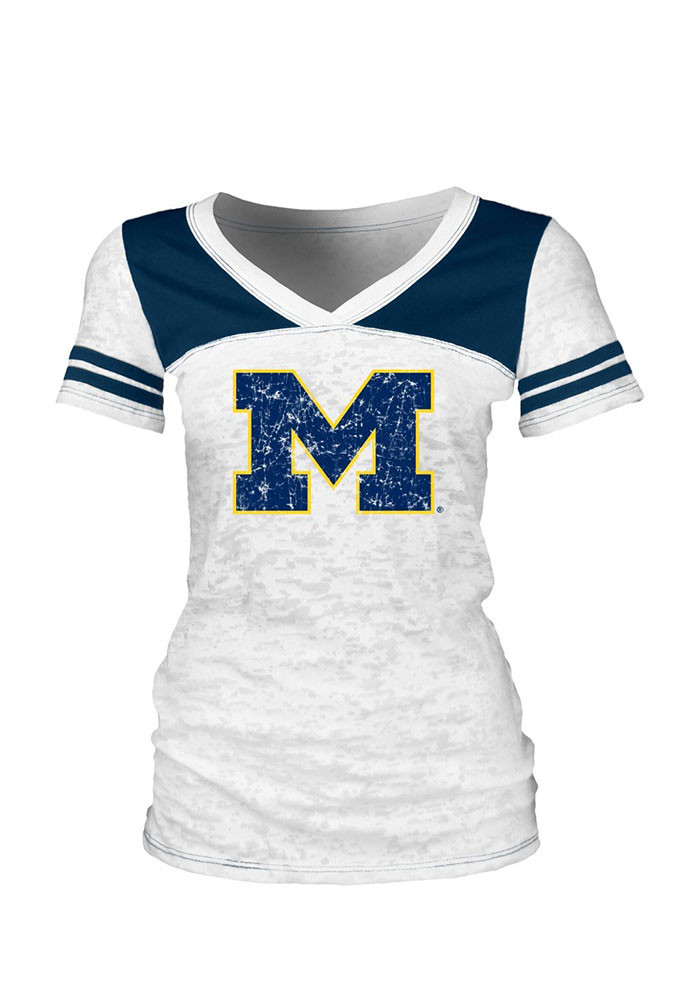 Michigan Wolverines Juniors White Burnout V-Neck T-Shirt - Image 1