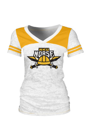 Northern Kentucky Norse Womens White Burnout V-Neck