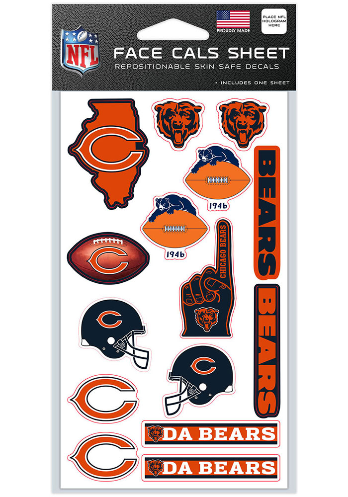 Chicago Bears 4x7 Face Tattoo - Image 1