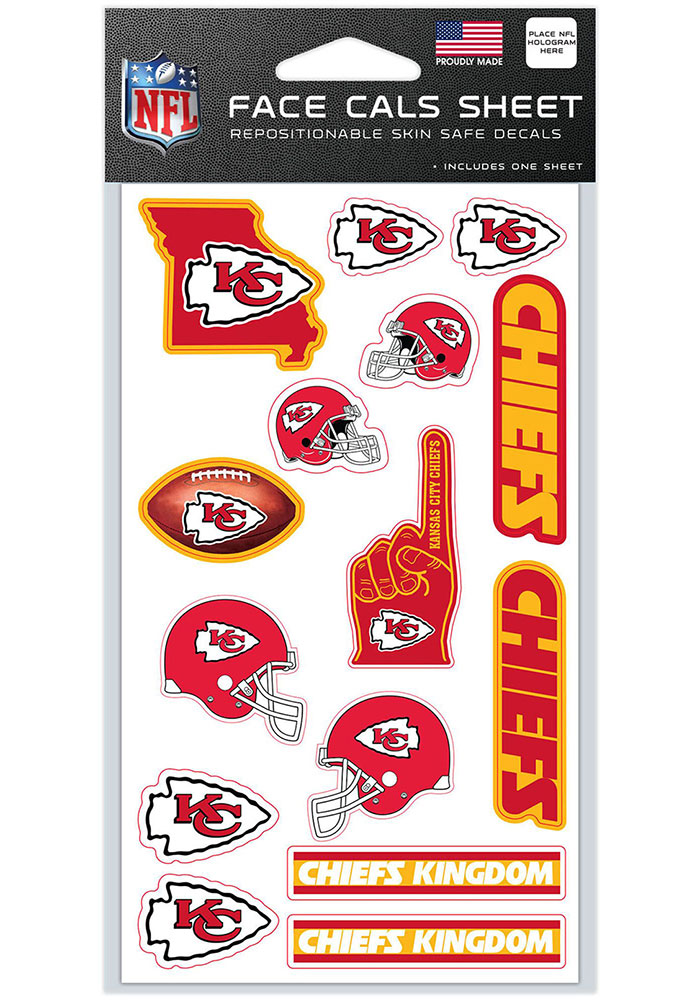 Kansas City Chiefs 4x7 Face Tattoo - Image 1