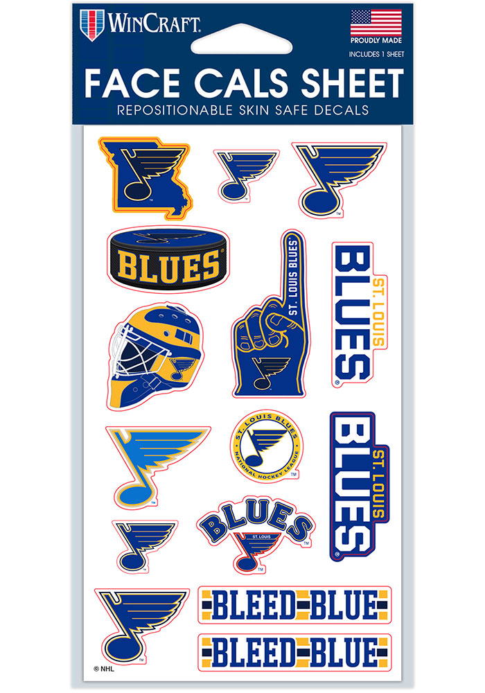 St Louis Blues 4x7 Face Tattoo - Image 1