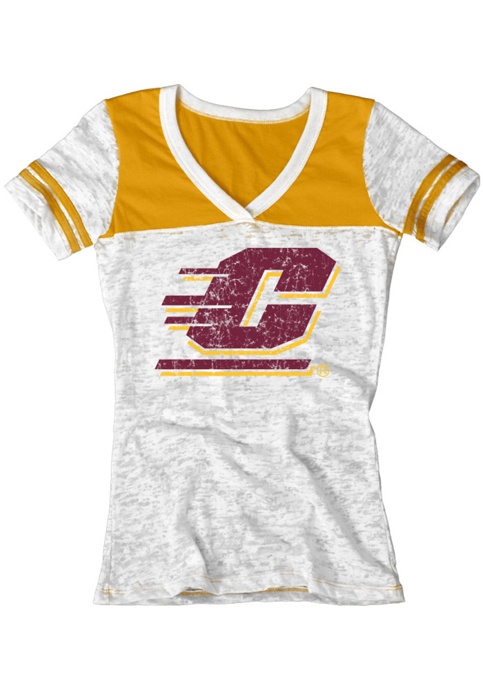 Central Michigan Chippewas Juniors White Burnout V-Neck T-Shirt - Image 1
