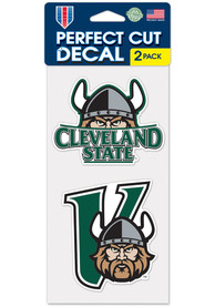 Cleveland State Vikings 4x4 2 Pack Auto Decal - Green