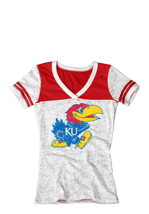 KU Jayhawks Womens White Burnout V-Neck