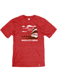 Pittsburgh Brewing Co. Heather Red Iron City Skyline Bottles Short Sleeve T Shirt