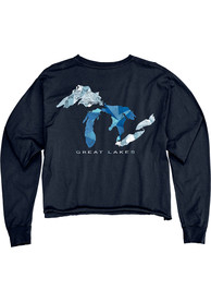Michigan Women's Reactive Navy Great Lakes Cropped Long Sleeve T-Shirt