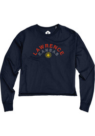 Lawrence Women's Reactive Navy Arched Wordmark Sunflower Cropped Long Sleeve T-Shirt