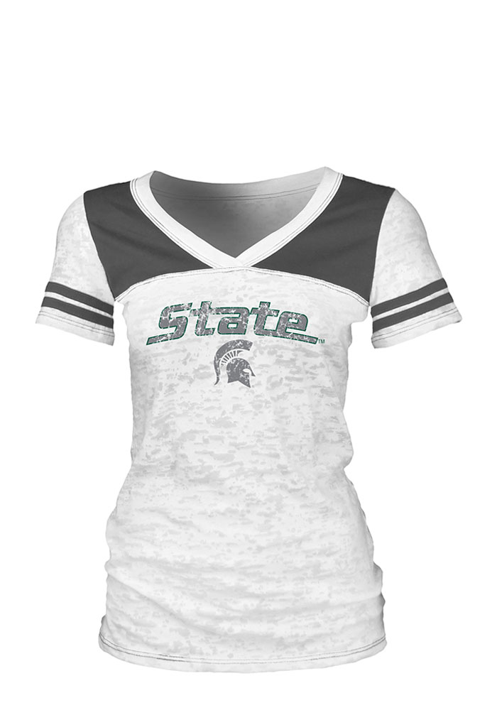 Michigan State Spartans Juniors White Burnout V-Neck T-Shirt - Image 1