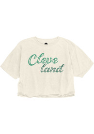 Cleveland Women's Ivory Retro Chalk Wordmark Cropped Short Sleeve T Shirt