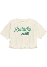 Kentucky Women's Ivory Retro Chalk Wordmark Cropped Short Sleeve T Shirt