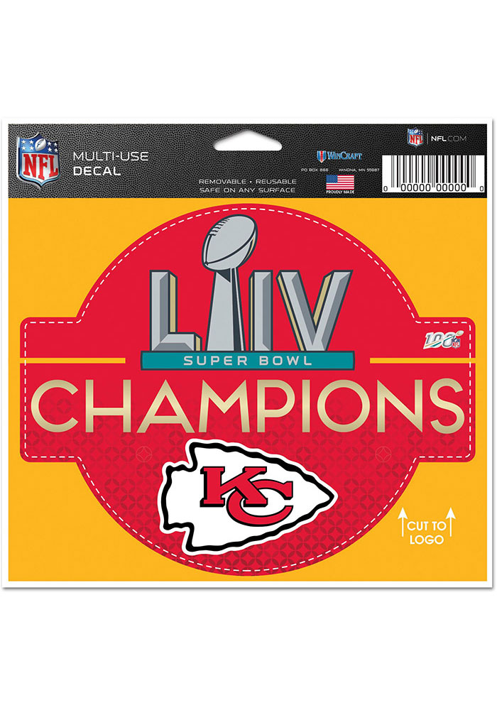 Kansas City Chiefs Super Bowl LIV Champions 4x5x6 Multi Use Auto Decal - Red - Image 1