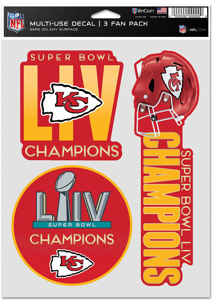 Kansas City Chiefs Super Bowl LIV Champions 3pk Fan Auto Decal - Red - Image 1