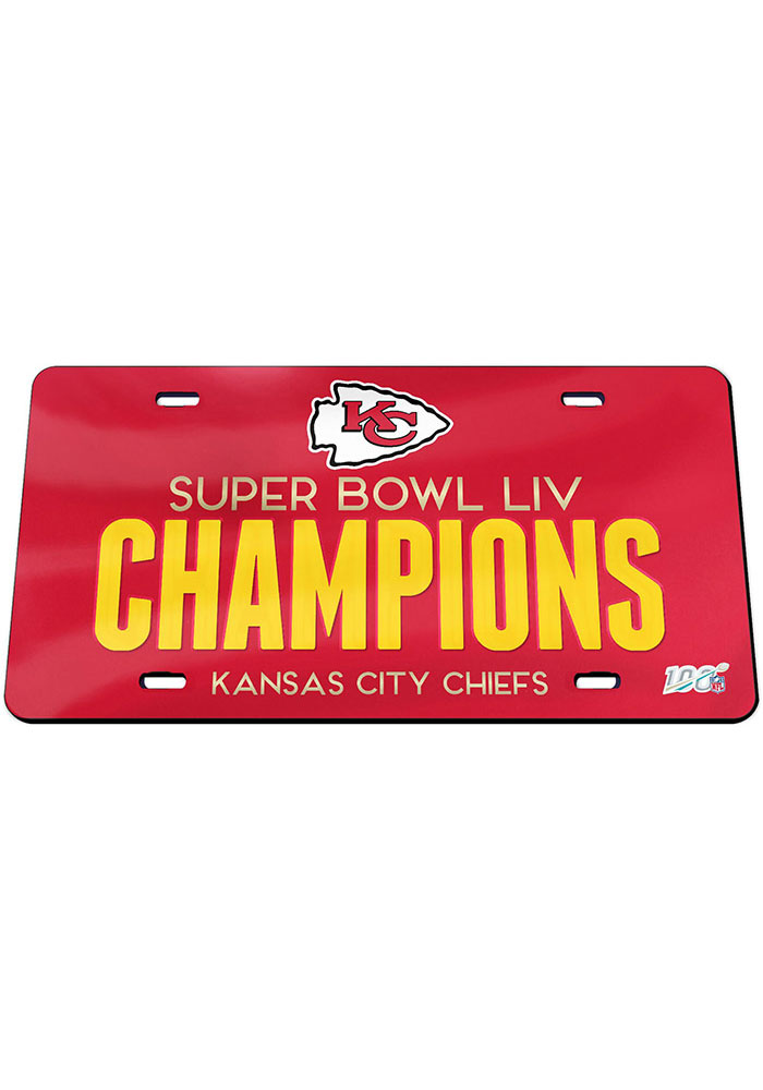 Kansas City Chiefs Super Bowl LIV Champions Mirrored Car Accessory License Plate - Image 1