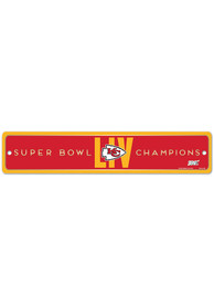 Kansas City Chiefs Super Bowl LIV Champions 3.75x19 Plastic Street Sign