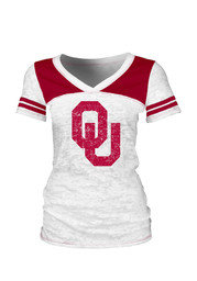 Oklahoma Womens White Burnout V-Neck