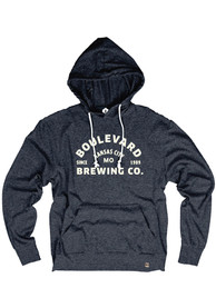 Boulevard Heather Navy Arched Logo Long Sleeve T Shirt Hood