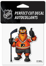 Philadelphia Flyers Gritty 4x4 Auto Decal - Orange
