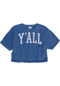 Rally Women's Royal Y'all Cropped Short Sleeve T-Shirt