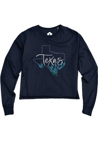 Texas Women's State Shape Bonnets Cropped Long Sleeve T Shirt