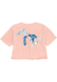 Michigan Women's Shell Pink Great Lakes Cropped Short Sleeve T-Shirt