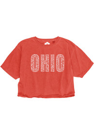 Ohio Women's Red Cheetah Wordmark Cropped Short Sleeve T-Shirt