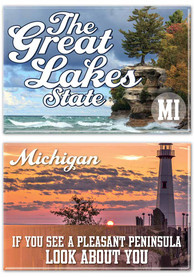 Michigan The Great Lakes 2pk Magnet