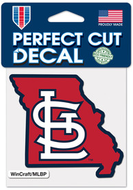 St Louis Cardinals 4x4 State Shape Auto Decal - Red