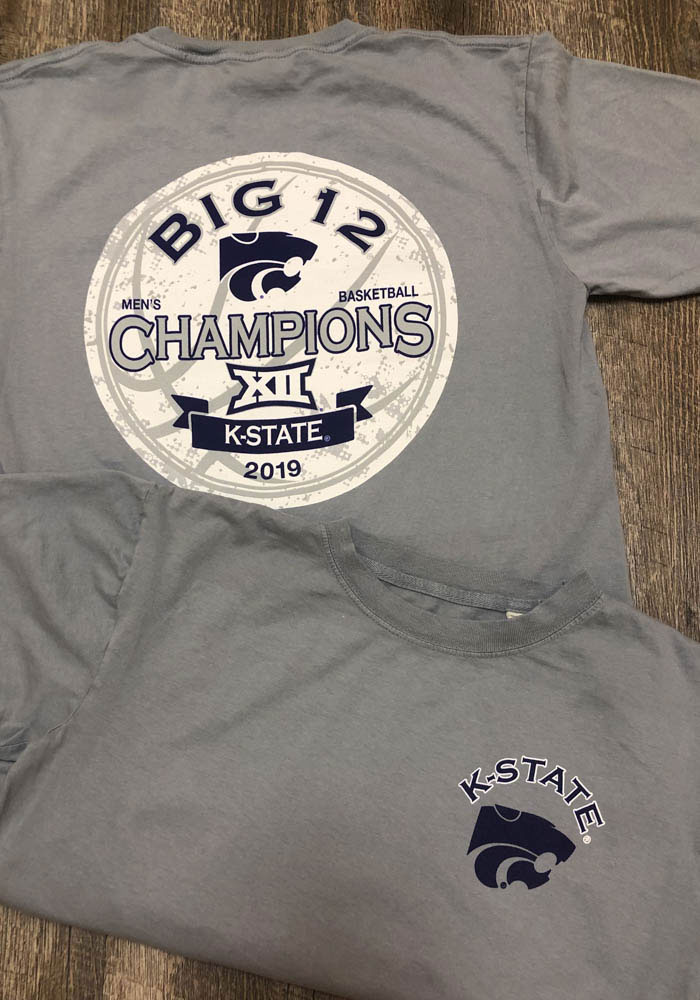 K-State Wildcats Womens Grey 2019 Big 12 Champions Short Sleeve T-Shirt - Image 3