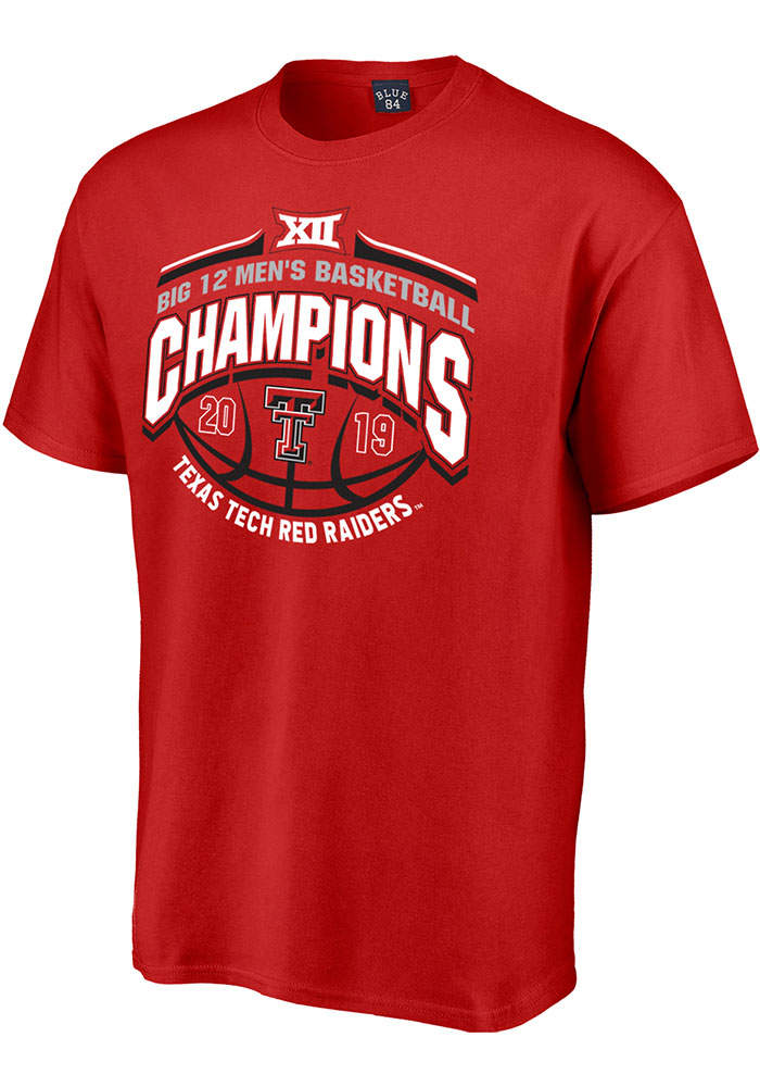 Texas Tech Red Raiders Red 2019 Big 12 Champions Short Sleeve T Shirt - Image 1
