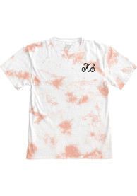 Kansas Women's Rose Quartz Tie Dye Wordmark Short Sleeve T Shirt