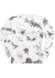 Pittsburgh Women's Amethyst Tie Dye Wordmark Long Sleeve T Shirt