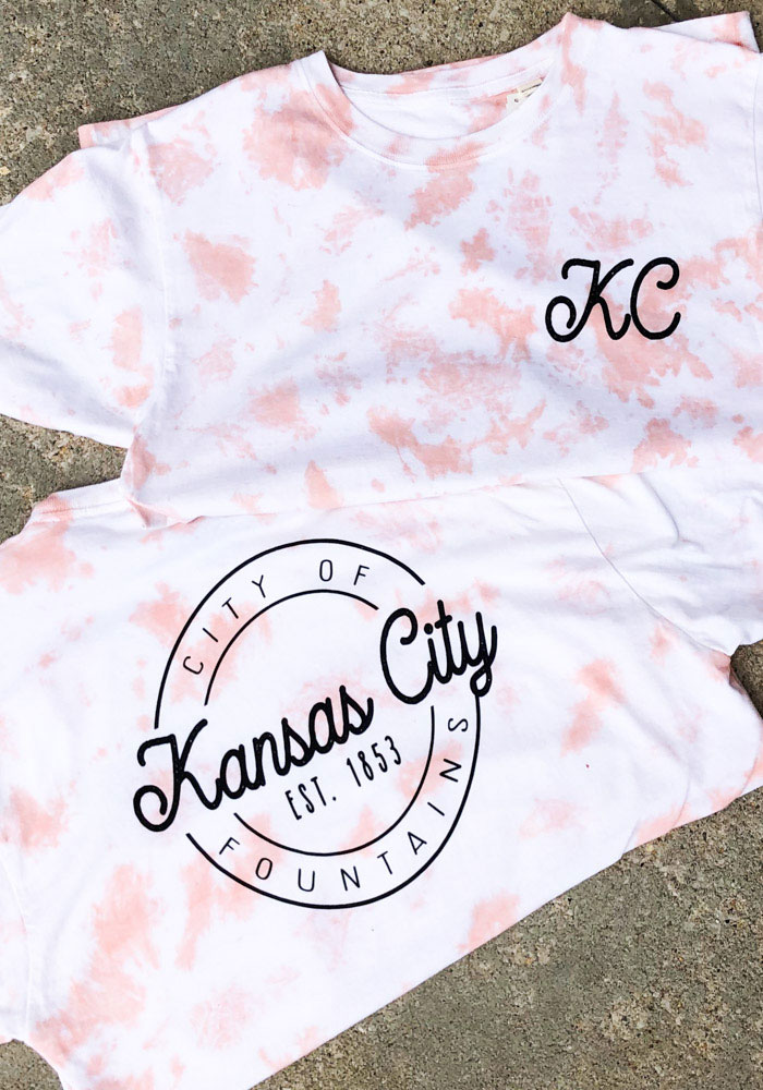 Kansas City Women's Rose Quartz Tie Dye Wordmark Short Sleeve T Shirt - Image 3