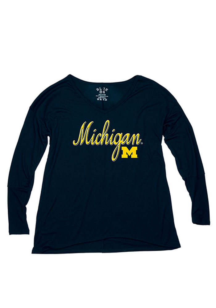 Michigan Wolverines Juniors Navy Blue Endora Long Sleeve T-Shirt 572328