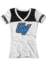 Grand Valley State Lakers Juniors White Burnout V-Neck