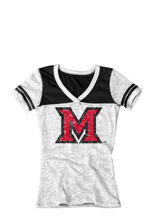 Miami Redhawks Womens White Burnout T-Shirt