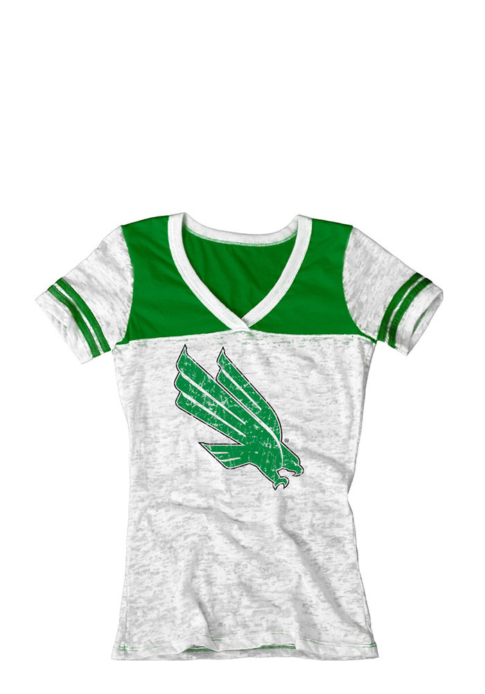 North Texas Mean Green Juniors White Burnout V-Neck T-Shirt - Image 1