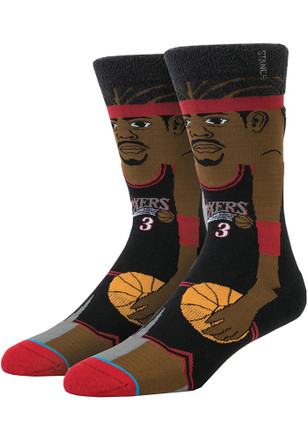 Allen Iverson Philadelphia 76ers Mens Black Legends Crew Socks