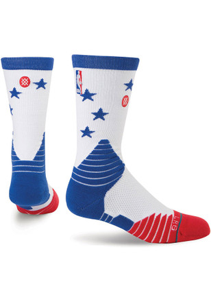 Stance Philadelphia 76ers Mens White On Court Collection Crew Socks