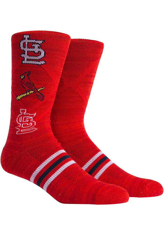 St Louis Cardinals Stacked Mens Crew Socks - Image 1