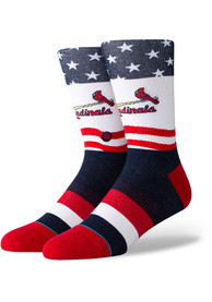 Stance St Louis Cardinals Mens Red Stars and Bars Crew Socks