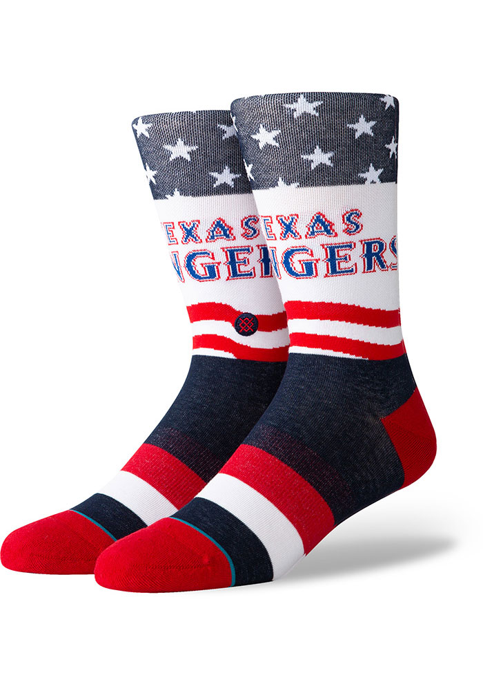 Texas Rangers Stance Stars and Bars Mens Crew Socks - Image 1