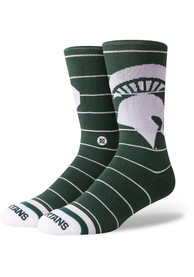 Stance Michigan State Spartans Mens Green Stripe Crew Socks